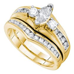 Marquise Diamond Bridal Wedding Ring Band Set 7/8 Cttw 14kt Yellow Gold - REF-87H5R