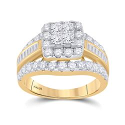 Princess Diamond Cluster Bridal Wedding Engagement Ring 2 Cttw 14kt Yellow Gold - REF-155N5F