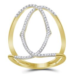 Womens Round Diamond Negative Space Band Ring 1/3 Cttw 10kt Yellow Gold - REF-17A5M