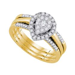 Diamond Teardrop Cluster Bridal Wedding Ring Band Set 1/2 Cttw 10kt Yellow Gold - REF-49A9M
