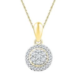 Womens Round Diamond Halo Flower Cluster Pendant 1/4 Cttw 10kt Yellow Gold - REF-14Y9N