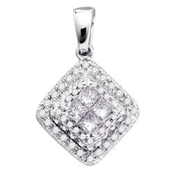 Womens Princess Diamond Square Frame Cluster Pendant 1/2 Cttw 14kt White Gold - REF-43Y5N