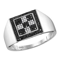 Mens Round Black Color Enhanced Diamond Square Ring 1/4 Cttw 10kt White Gold - REF-23N5F