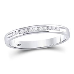 Womens Round Channel-set Diamond Single Row Wedding Band 1/10 Cttw 14kt White Gold - REF-17K5Y