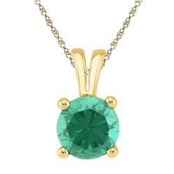 Womens Round Lab-Created Emerald Solitaire Pendant 1-1/3 Cttw 10kt Yellow Gold - REF-5X9A