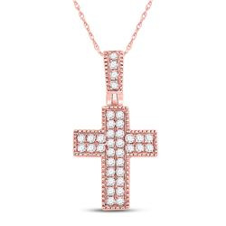 Womens Round Diamond Squared Cross Pendant 1/5 Cttw 14kt Rose Gold - REF-10H5R