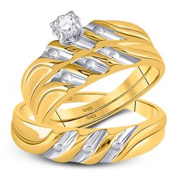 His Hers Round Diamond Solitaire Matching Wedding Set 1/20 Cttw 14kt Yellow Gold - REF-32M5H