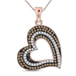 Womens Round Brown Diamond Heart Pendant 3/8 Cttw 10kt Rose Gold - REF-21N5F