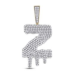 Mens Round Diamond Dripping Z Letter Charm Pendant 2-7/8 Cttw 10kt Yellow Gold - REF-131H5R
