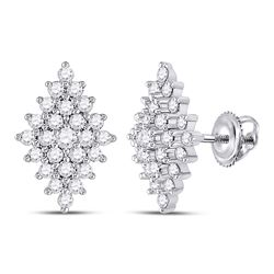 Womens Round Diamond Marquise-shape Cluster Earrings 1/2 Cttw 14kt White Gold - REF-32R5X