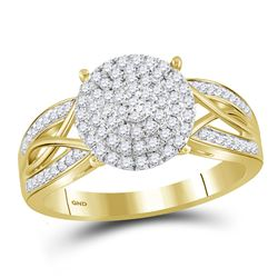 Womens Round Diamond Circle Cluster Ring 3/8 Cttw 10kt Yellow Gold - REF-27F9W