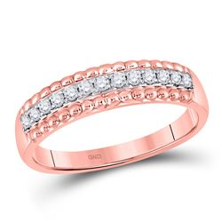 Womens Round Diamond Wedding Anniversary Band 1/4 Cttw 10kt Rose Gold - REF-16R9X