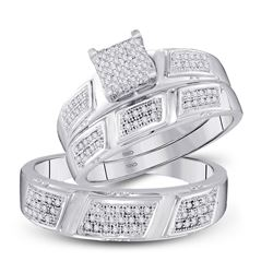 His Hers Round Diamond Square Matching Wedding Set 1/2 Cttw 10kt White Gold - REF-47R9X