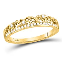 Womens Round Diamond Floral Accent Stackable Band Ring 1/12 Cttw 10kt Yellow Gold - REF-13Y5N