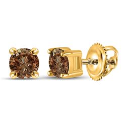 Womens Round Brown Diamond Solitaire Earrings 1 Cttw 10kt Yellow Gold - REF-35R5X