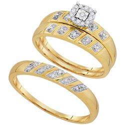 His Hers Round Diamond Solitaire Matching Wedding Set 1/10 Cttw 10kt Yellow Gold - REF-24M5H