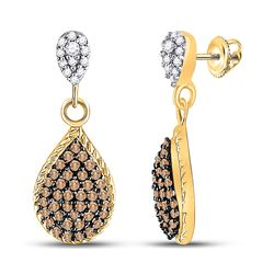 Womens Round Brown Diamond Teardrop Dangle Earrings 1/2 Cttw 10kt Yellow Gold - REF-17M5H