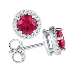 Womens Round Lab-Created Ruby Diamond Stud Earrings 1-1/3 Cttw 10kt White Gold - REF-15M9H