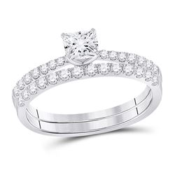 Cushion Diamond Bridal Wedding Ring Band Set 1-1/5 Cttw 14kt White Gold - REF-239A9M