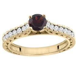 0.90 CTW Garnet & Diamond Ring 14K Yellow Gold - REF-62A5X