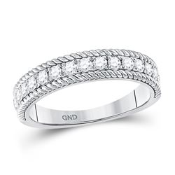 Womens Round Diamond Rope Band Ring 1/2 Cttw 14kt White Gold - REF-39M5H