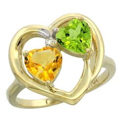 2.61 CTW Diamond, Citrine & Peridot Ring 14K Yellow Gold - REF-33A9X
