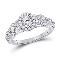 Oval Diamond Halo Bridal Wedding Engagement Ring 1 Cttw 14kt White Gold - REF-104Y9N