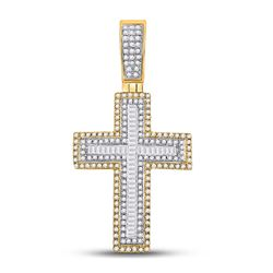 Mens Baguette Diamond Cross Charm Pendant 7/8 Cttw 10kt Yellow Gold - REF-47A9M