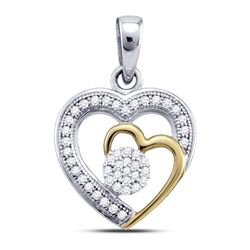 Womens Round Diamond Heart Pendant 1/6 Cttw 10kt Two-tone Gold - REF-10K5Y