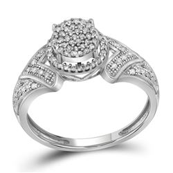 Womens Round Diamond Cluster Bridal Wedding Engagement Ring 1/3 Cttw 10kt White Gold - REF-21Y5N