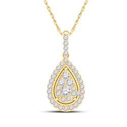 Womens Round Diamond Teardrop Pendant 1/4 Cttw 14kt Yellow Gold - REF-18W5K