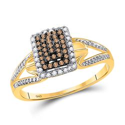 Womens Round Brown Diamond Cluster Ring 1/5 Cttw 10kt Yellow Gold - REF-15W9K