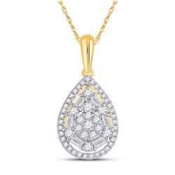 Womens Baguette Diamond Teardrop Pendant 1/2 Cttw 14kt Yellow Gold - REF-43K5Y
