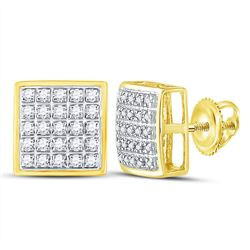Mens Round Diamond Square Cluster Earrings 1/6 Cttw 10kt Yellow Gold - REF-12R9X