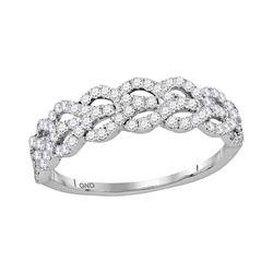 Womens Round Diamond Fashion Band Ring 3/8 Cttw 10kt White Gold - REF-27H9R