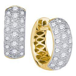 Womens Round Diamond Hoop Huggie Earrings 7/8 Cttw 14kt Yellow Gold - REF-74F9W