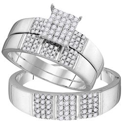 His Hers Diamond Square Cluster Matching Wedding Set 1/2 Cttw 10kt White Gold - REF-38X9A