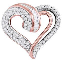 Womens Round Diamond Heart Pendant 1/4 Cttw 10kt Rose Gold - REF-16K9Y