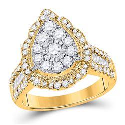 Womens Round Diamond Teardrop Pear Ring 1-5/8 Cttw 14kt Yellow Gold - REF-131M5H