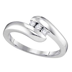 Womens Round Diamond 3-stone Promise Ring 1/8 Cttw 10kt White Gold - REF-18M9H