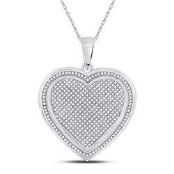 Womens Round Diamond Composite Heart Pendant 1 Cttw 10kt White Gold - REF-60R9X