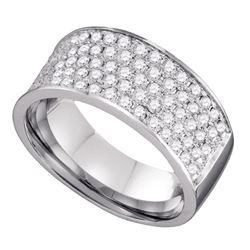 Womens Round Diamond Wedding Band 1 Cttw 10kt White Gold - REF-56M9H