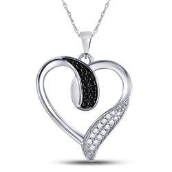 Womens Round Black Color Enhanced Diamond Heart Pendant 1/5 Cttw 10kt White Gold - REF-13F9W