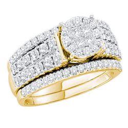 Princess Diamond Bridal Wedding Ring Band Set 1-1/2 Cttw 14kt Yellow Gold - REF-129N9F