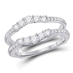 Womens Round Diamond Wrap Ring Guard Enhancer 3/4 Cttw 14kt White Gold - REF-68H5R