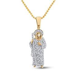 Mens Round Diamond Jesus Saint Charm Pendant 3/8 Cttw 14kt Yellow Gold - REF-30M9H