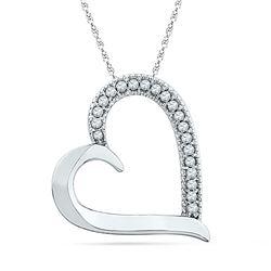 Womens Round Diamond Heart Outline Pendant 1/10 Cttw 10kt White Gold - REF-8R5X