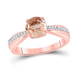 Womens Round Morganite Diamond Solitaire Ring 7/8 Cttw 10kt Rose Gold - REF-27H9R