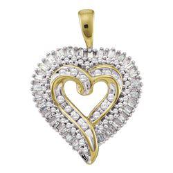 Womens Round Diamond Heart Cluster Pendant 1/2 Cttw 10kt Yellow Gold - REF-24F9W