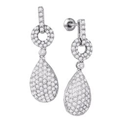 Womens Round Diamond Teardrop Dangle Earrings 2 Cttw 10kt White Gold - REF-109W5K